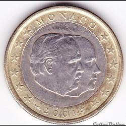 Pièce 1€. Prince Rainier III et du Prince Albert (futur Prince Albert II)