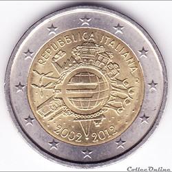 Pièce 2€. 10e anniversaire de la mise en circulation des billets et des pièces en euro