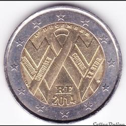 Pièce 2 euros. Journée mondiale contre le SIDA
