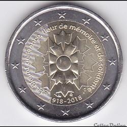 Pièce 2 euros. Le Bleuet de France, fleur de mémoire et de solidarité