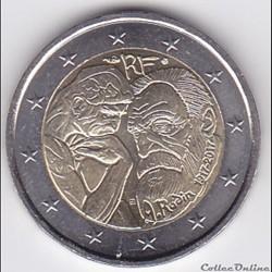 Pièce 2 euros. 100e anniversaire de la mort du sculpteur français Auguste Rodin