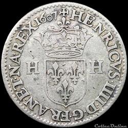 Henri IV (1589-1610) - Piéfort double du Douzain aux deux H - 1607 A