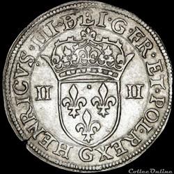 Henri III (1574-1589) - Quart d'écu - 15...