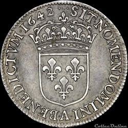 monnaie france royale louis xiii 1610 1643 quart ecu 1642 a paris