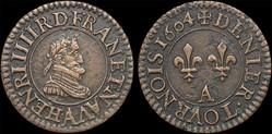 CGKL 224 - Henri IV - Denier tournois 16...
