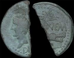 Auguste et Agrippa - Dupondius coupé en ...