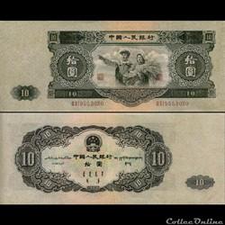 CHINE - PICK 870 - 10 YUAN 1953