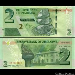 ZIMBABWE - PICK 099b - 2 Dollars - 2016