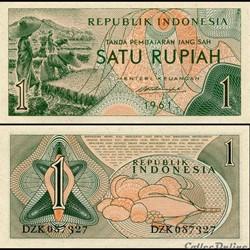 INDONÉSIE - PICK 78 - 1 ROUPIES - 1961