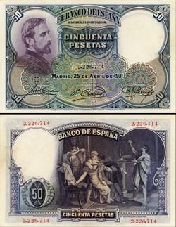 ESPAGNE - PICK 082 - 50 PESETAS - 1931