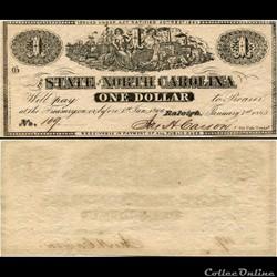 $1 - CAROLINE DU NORD - RALEIGH - 20 DÉCEMBRE  1862