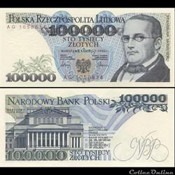POLOGNE - PICK 154 A - 100 000 ZLOTYCH - 1990