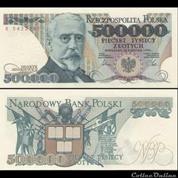 POLOGNE - PICK 156 A - 500 000 ZLOTYCH - 1990
