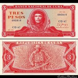CUBA - PICK 107b1 - 3 PESOS - 1988