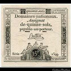 FRANCE - ASSIGNAT DE 15 SOLS -04/01/1792