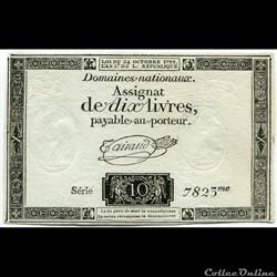 FRANCE - ASSIGNAT DE 10 LIVRES -24/10/1792