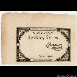 FRANCE - ASSIGNAT DE 5 LIVRES -31/10/1793 - 10 BRUMAIRE DE L'AN II