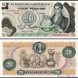 COLOMBIE - PICK 409 d 3 - 20 PESOS DE OR...