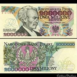 POLOGNE - PICK 158 b - 2 000 000 ZLOTYCH - 1992