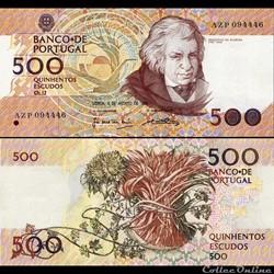 PORTUGAL - PICK 180 c 1 - 500 ESCUDOS - 1989