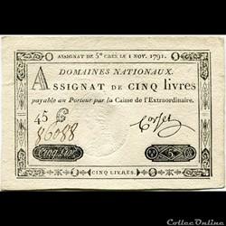 FRANCE - ASSIGNAT DE 5 LIVRES -01/11/1791
