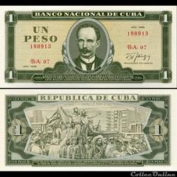 CUBA - PICK 102d - 1 PESO - 1988