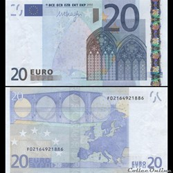 20 EUROS - SIGNATURE DRAGHI - PICK 16 F - MALTE