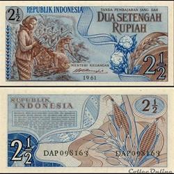 INDONÉSIE - PICK 79 - 2 1/2 ROUPIES - 19...