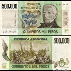 ARGENTINE - PICK 309 a 2 - 500 000 PESOS...