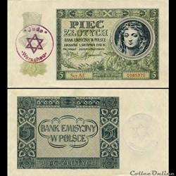 POLOGNE - PICK 93 - 5 ZLOTYCH - 1940