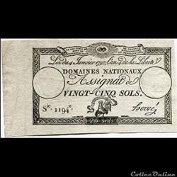 FRANCE - ASSIGNAT DE 25 SOLS -04/01/1792