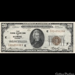 $20 FEDERAL RESERVE BANK NOTE -  BROWN S...