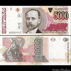 ARGENTINE - PICK 330 e - 5 000 AUSTRALES...