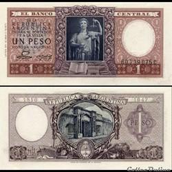 ARGENTINE - PICK 260 b - 1 PESO - 1952