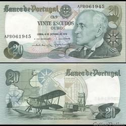 PORTUGAL - PICK 176 b 3 - 20 ESCUDOS - 1978