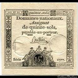 FRANCE - ASSIGNAT DE 15 SOLS -24/10/1792