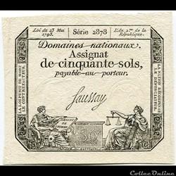 FRANCE - ASSIGNAT DE 50 SOLS -23/05/1793