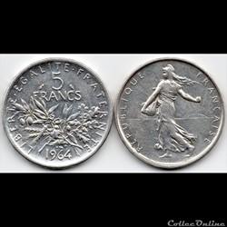 5 Francs : Semeuse en argent 1964