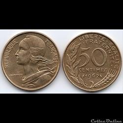 50 centimes Marianne 3 plis 1962