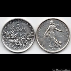 5 Francs : Semeuse en argent 1965