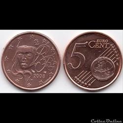 5 cent : 2008 Marianne, symbole de la Ré...