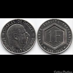 1 Franc : Commémorative Charles de Gaull...