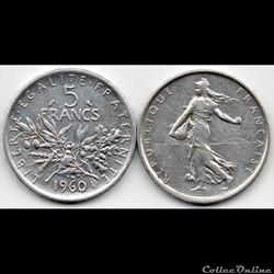 5 Francs : Semeuse en argent 1960