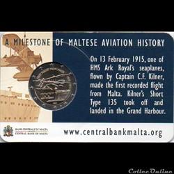 2015 : Coin card  100ème anniversaire 1er vol commercial de Malte