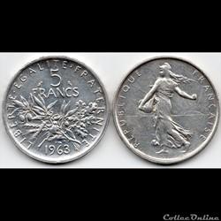5 Francs : Semeuse en argent 1963