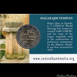 2017 : Coin card   Hagar Qim avec poinçon monnaie de Paris