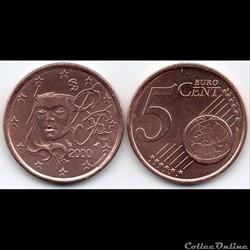 5 cent : 2000 Marianne, symbole de la Ré...