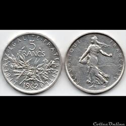 5 Francs : Semeuse en argent 1962