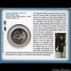 monnaie euro luxembourg 2009 coin card 90em anniversaire accession tron