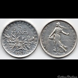 5 Francs : Semeuse en argent 1961